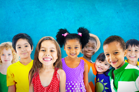 happy kids: Diversity Children Friendship Innocence Smiling Concept Stock Photo