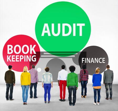 facing backwards: Audit Bookkeeping Finance Money Report Concept