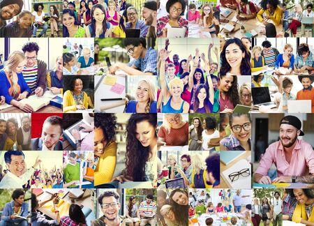 collage caras: Gente Diversa Estudiantes Start Up Collage Concepto