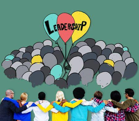 facing backwards: Leadership Lead Management Responsibility Vision Concept