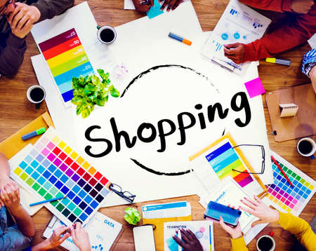 overspending: Shopping Retail Shopaholic Consumerism Market Concept Stock Photo