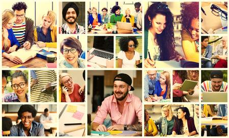 diverse students: Diversity College Student Digital Devices Teamwork Concept