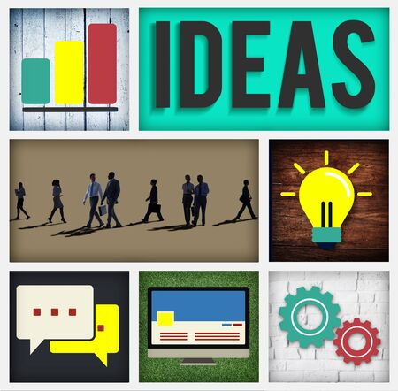 workmates: Ideas Innovation Intelligence Intellectual Wisdom Concept Stock Photo