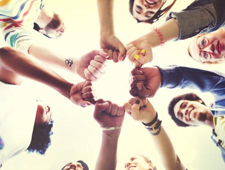friendship circle: Friends Friendship Fist Bump Togetherness Concept Stock Photo