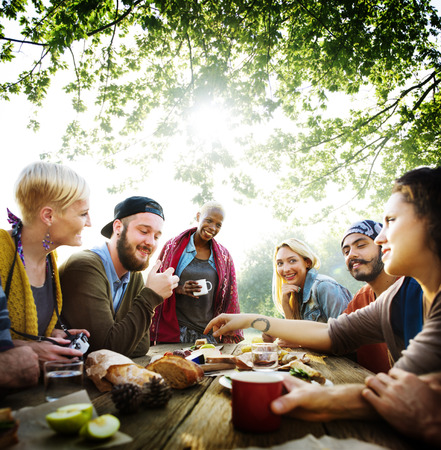 outdoor dining: Friends Friendship Outdoor Dining People Concept Stock Photo