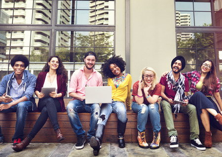diversity people: Teenagers Young Team Together Cheerful Concept Stock Photo