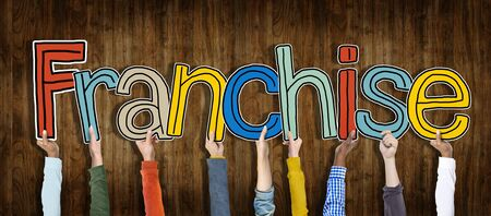 Diverse Hands Holding the Word Franchise Zdjęcie Seryjne