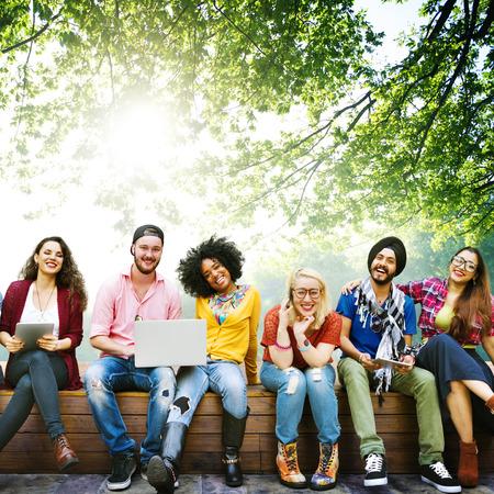 多様性 10 代の若者の友人友好チーム コンセプト 写真素材