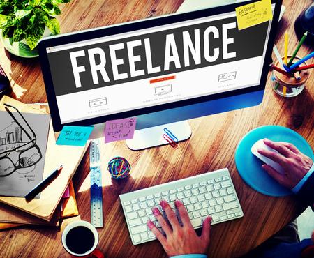 place of employment: Freelance Part time Outsources Job Employment Concept