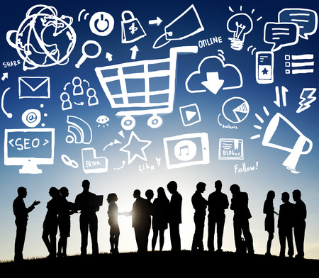 marketing strategy: Online Marketing Strategy Branding Commerce Advertising Concept Stock Photo