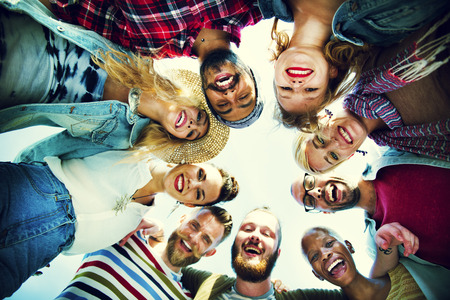 circle of friends: Friends Huddle Join Holiday Party Group Concept Stock Photo