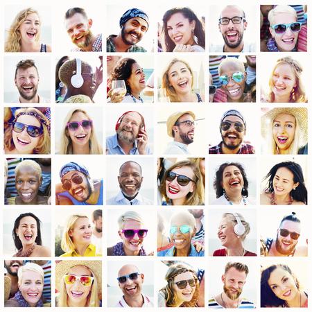 variation: Diverse People Variation Portraits Summer Concept