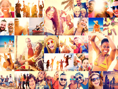 smiling faces: Collage Diverse Faces Summer Beach People Concept