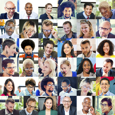human head: Collage Diverse Faces Group People Concept Stock Photo