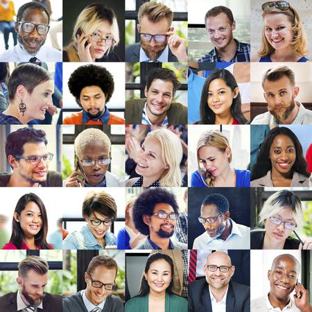 diversity: Collage Diverse Faces Group People Concept Stock Photo