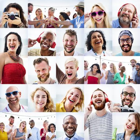 diversidad: Comunidad Diversidad felicidad sonriente Foto de cabeza Concepto