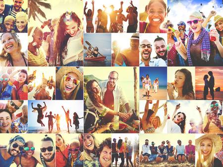 volti: Collage Facce Diverse Summer Beach persone Concetto Archivio Fotografico