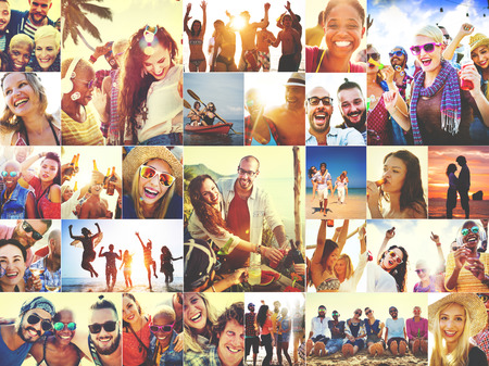 famille africaine: Collage Visages divers Summer Beach personnage