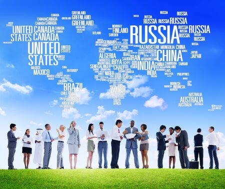 visions of america: Russia Global World International Countries Globalization Concept Stock Photo