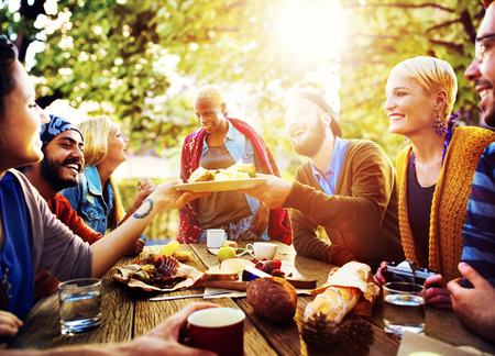 dinner: Diverse People Luncheon Outdoors Food Concept