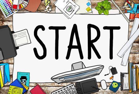 empezar: Start Journey Mission Achievement Begin Concept Foto de archivo