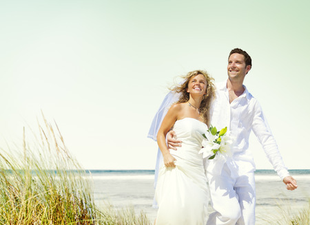 newlywed couple: Couple Romance Beach Love Marriage Concept