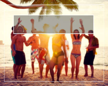 fun in the sun: Copy Space Frame Summer Vacation Holiday Concept Stock Photo