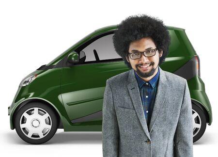eco car: Eco Car Vehicle Transportation 3D Illustration Concept