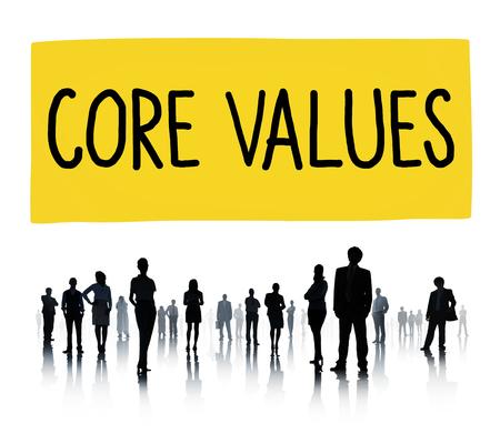 nucleo: Valores Fundamentales Core Focus Objetivos Ideología Uso principal Concepto Foto de archivo