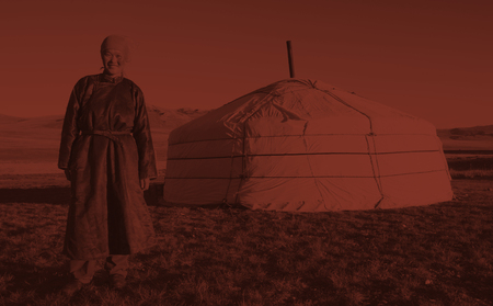independent mongolia: Mongolian Woman Standing Tent Outdoors Tranquil Concept