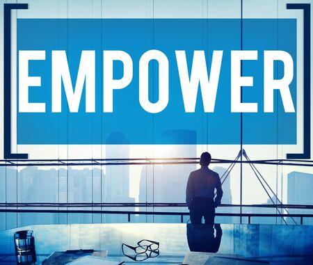 autoridad: Empower Empoderamiento Permiso Autoridad Mejorar Concepto