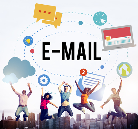 Group of people jumping with email concept