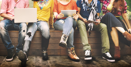 school teens: Teenagers Young Team Together Cheerful Concept Stock Photo
