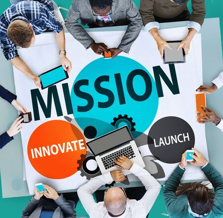 innoveren: Mission Innovate Launch Success Goal Concept Stockfoto