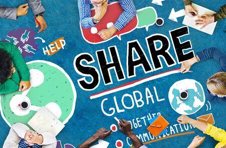 mobile communication: Share Social Media Connection Social Networking Communication Concept