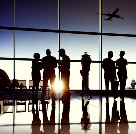 team journey: Business Team Airport Journey Travel Concept Stock Photo