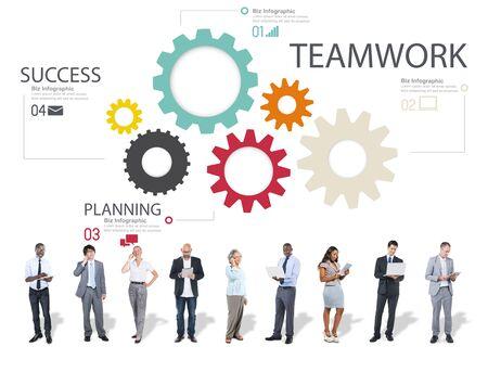 team cooperation: Teamwork Team Group Gear Partnership Cooperation Concept