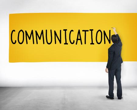 Businessman writing communication concept
