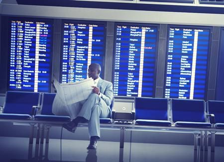 Businessman Airport Business Travel Flight Waiting Concept