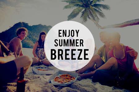 breeze: Enjoy Summer Breeze Friendship Beach Vacation Concept Stock Photo