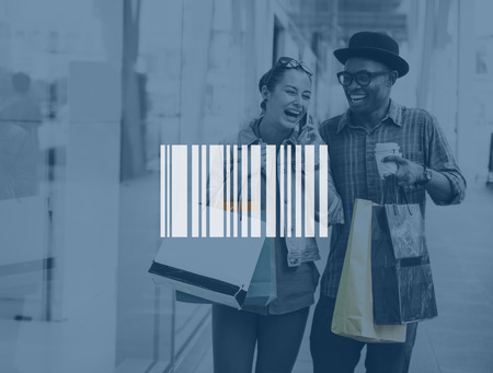 bar code reader: Couple Shopping Outdoors Store Lifestyle Concept