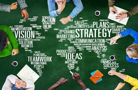 Análisis de la Estrategia Mundial de la Visión Misión planificación concepto Foto de archivo