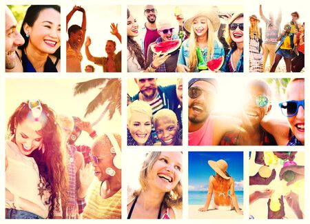 travel collage: Collage Diverse Faces Summer Beach People Concept