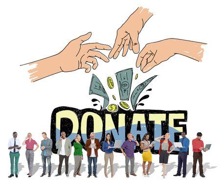 generoso: Donar dinero Caridad Manos Generosas Concepto