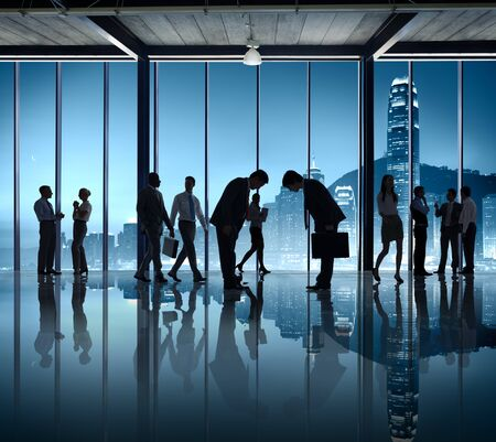 social grace: Business People Bowing Down Social Grace Agreement Partnership