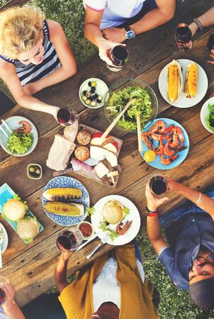 lifestyle dining: Friends Friendship Outdoor Dining People Concept Stock Photo
