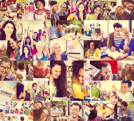sonrisa: Gente Diversa Estudiantes Start Up Collage Concepto