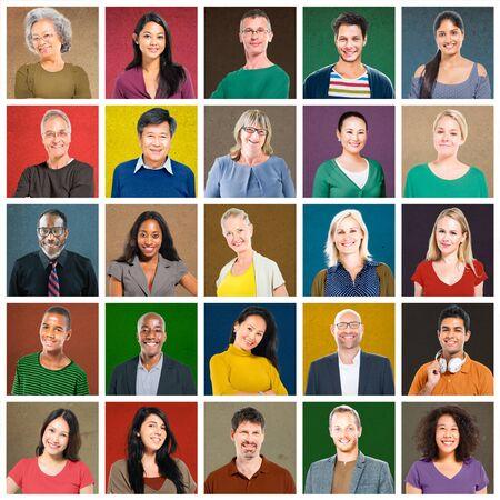 portrait: Multiethnic People Colorful Smiling Portrait Concept