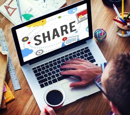trending: Share Post Media Trending Social Media Concept Stock Photo