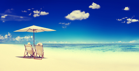 Couple Sitting Beach Summer Getaway Concept